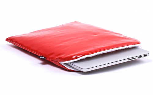 Laptophoes rood leer