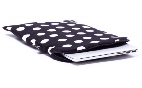 Zwarte Polka stippen MacBook hoes